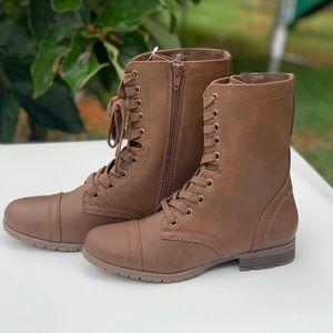 Women's Brown Lace Up Side Zipper Boot Cognac New